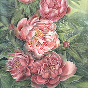 Картины и панно handmade. Livemaster - original item Copy of Copy of Copy of Copy of Painting watercolor peonies  Peonies in garden. Handmade.