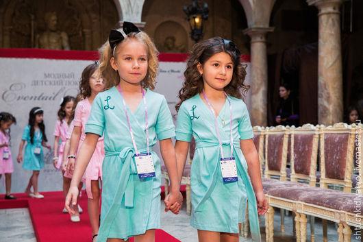 Одежда для девочек, ручной работы. Ярмарка Мастеров - ручная работа. Купить Голубой халатик. Handmade. Голубой, одежда для девочек