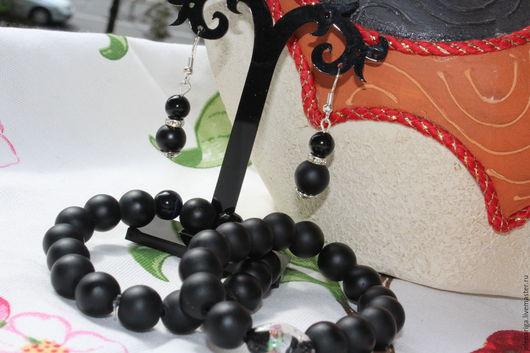 Комплекты украшений ручной работы. Ярмарка Мастеров - ручная работа. Купить Комплект украшений из двух браслетов и серёг - бразильский Чёрный Агат. Handmade.
