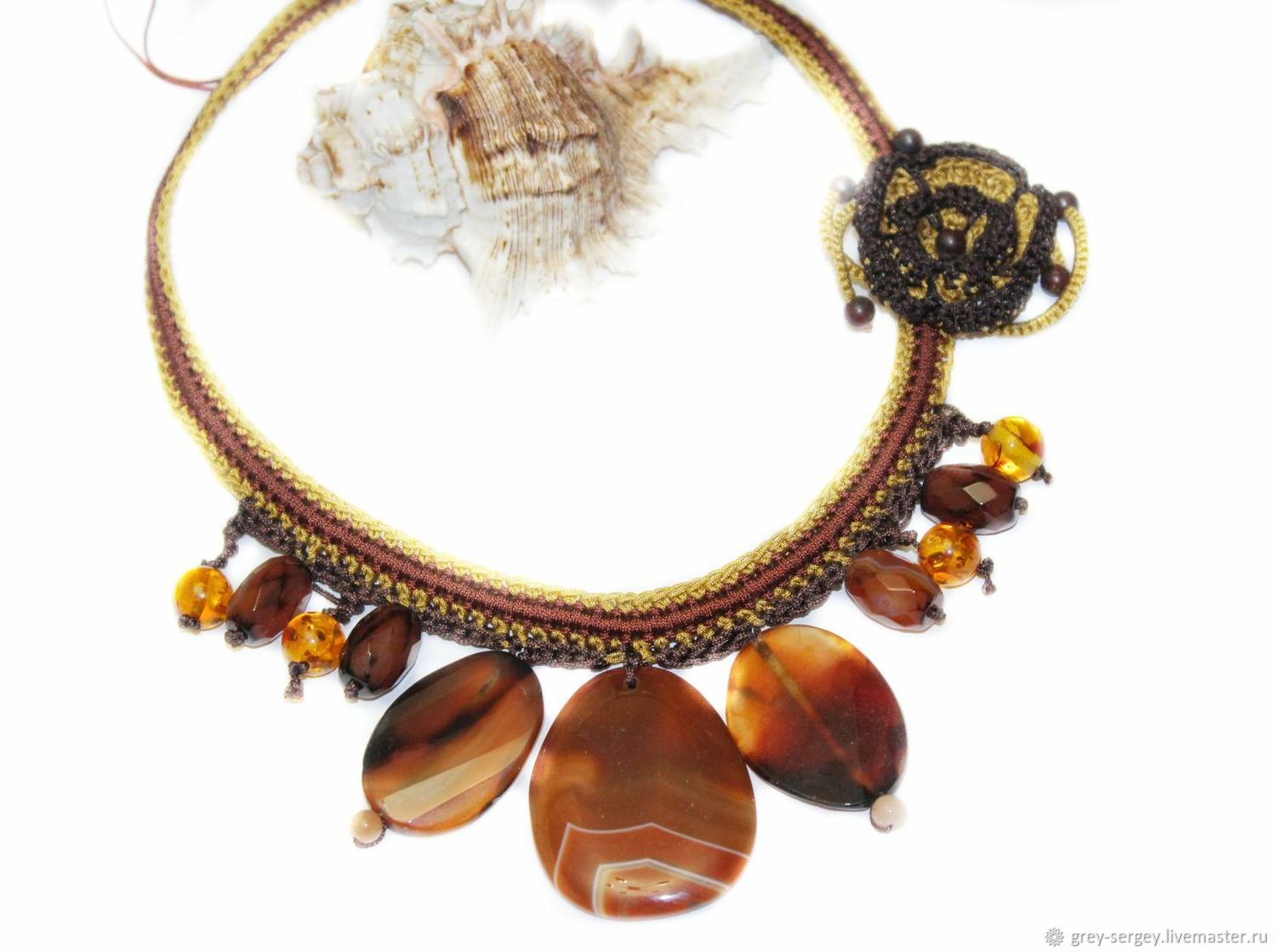 Knitted necklace Honey and cinnamon, Necklace, ,  Фото №1