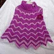Работы для детей, ручной работы. Ярмарка Мастеров - ручная работа Пончо вязаное для девочки. Handmade.