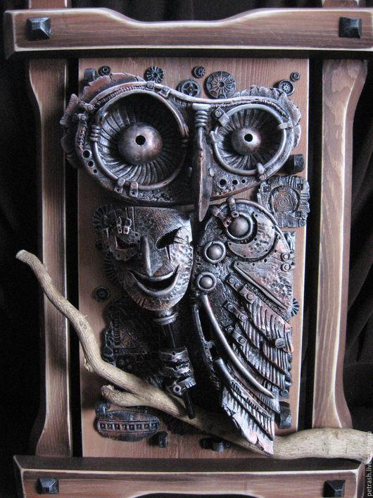 Элементы интерьера ручной работы. Ярмарка Мастеров - ручная работа. Купить Картина Сова с маской. Панно керамическое. Handmade.