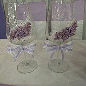 Свадебный салон ручной работы. Ярмарка Мастеров - ручная работа Украшение свадебных бокалов. Handmade.