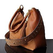 Сумки и аксессуары handmade. Livemaster - original item Suede bag with decorative strap, Camel, beige. Handmade.