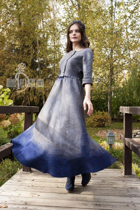 Платья ручной работы. Ярмарка Мастеров - ручная работа. Купить Валяное платье «К морю». Handmade. Серый, авторское платье