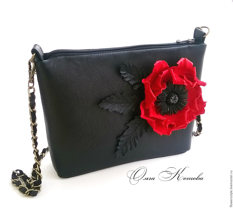 Handbags Handmade Livemaster Black Women S Handbag Bag Juicy Red Poppy
