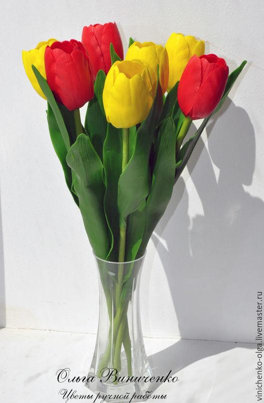 Цветы ручной работы. Ярмарка Мастеров - ручная работа. Купить Красные тюльпаны из полимерной глины.. Handmade. Ярко-красный