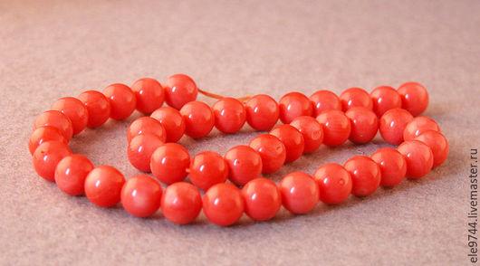 Для украшений ручной работы. Ярмарка Мастеров - ручная работа. Купить Коралл, гладкий шар, нить - 10мм. Handmade.