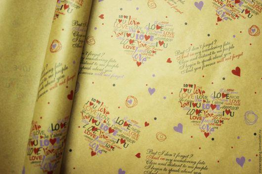 Упаковка ручной работы. Ярмарка Мастеров - ручная работа. Купить Крафт бумага сердечки Love. Handmade. Крафт упаковка