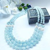 Украшения handmade. Livemaster - original item Necklace made of natural aquamarine and pearls. Handmade.