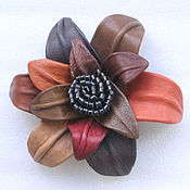 Украшения handmade. Livemaster - original item Flower in autumn colours. brooch made of leather. Handmade.