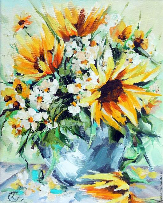 Картины цветов ручной работы. Ярмарка Мастеров - ручная работа. Купить Тёплое настроение. Handmade. Желтый, солнце, теплая любовь