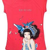 """Одежда ручной работы. Ярмарка Мастеров - ручная работа Футболка """"Girl & Birds"""". Handmade."""