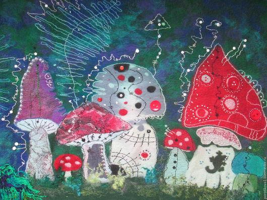"""Фантазийные сюжеты ручной работы. Ярмарка Мастеров - ручная работа. Купить Панно """"Ночные мухоморы"""". Handmade. Панно настенное, грибы"""