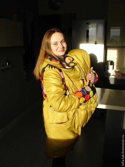 Верхняя одежда ручной работы. Куртка / слингокуртка зимняя `Funny mommy`. Handmade. Lella-lab.