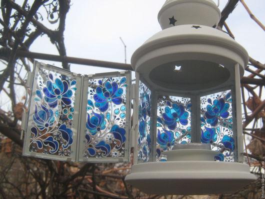 Роспись по стеклу фонарик 78