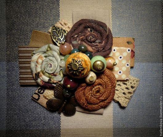 Комплекты аксессуаров ручной работы. Ярмарка Мастеров - ручная работа. Купить Брошь текстильная. Handmade. Оливковый, брошь, лён