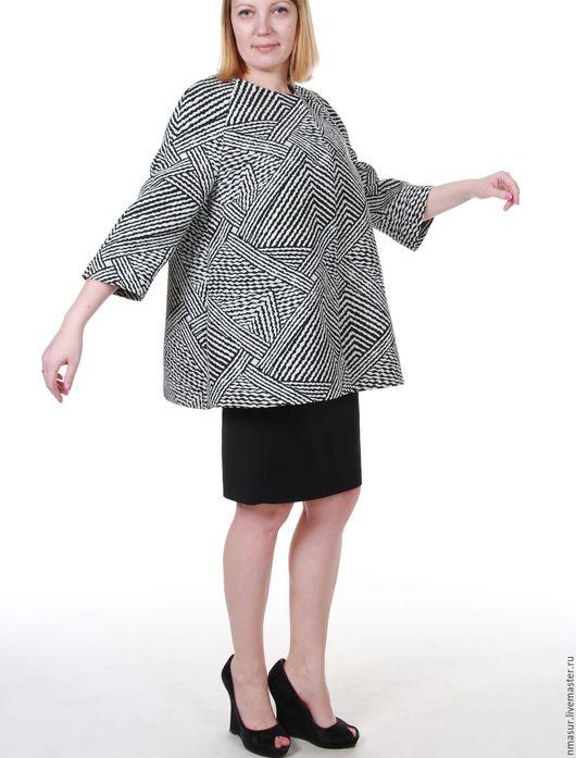 """Пиджаки, жакеты ручной работы. Ярмарка Мастеров - ручная работа. Купить Жакет  """"Luxury"""". Handmade. Чёрно-белый, плащ женский"""