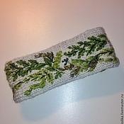 Аксессуары ручной работы. Ярмарка Мастеров - ручная работа Повязка на голову вязаная вышитая, с подкладкой. Handmade.