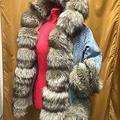 Одежда ручной работы. Ярмарка Мастеров - ручная работа джинсовая куртка с мехом. Handmade.