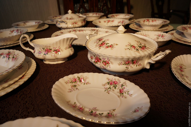 Винтаж: Костяной фарфор 43 пр. ROYAL ALBERT Old Lavender Rose, Винтажная посуда, Москва, Фото №1