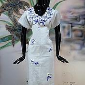 """Одежда ручной работы. Ярмарка Мастеров - ручная работа Платье льняное с вышивкой на любой размер """"Шелковые ирисы на льне"""". Handmade."""