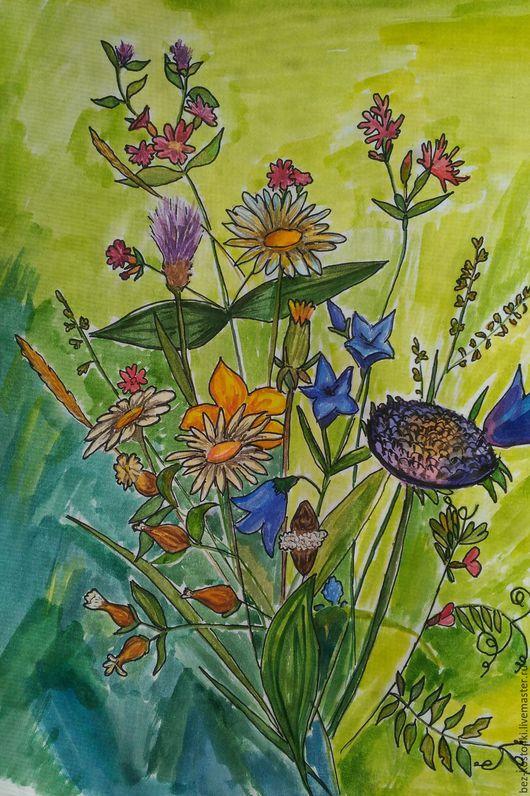 Картины цветов ручной работы. Ярмарка Мастеров - ручная работа. Купить Букет. Handmade. Акварель, цветы, букет, ярко-зелёный