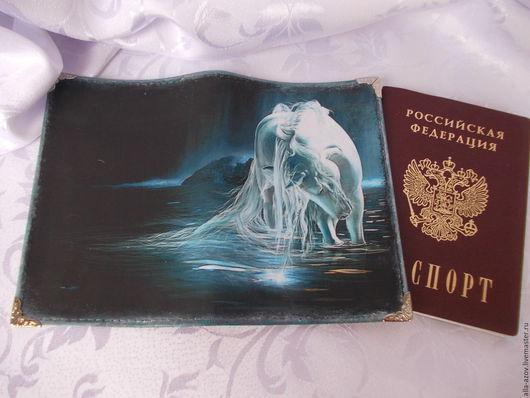 Персональные подарки ручной работы. Ярмарка Мастеров - ручная работа. Купить Обложка  на паспорт. Handmade. Синий, персональный подарок