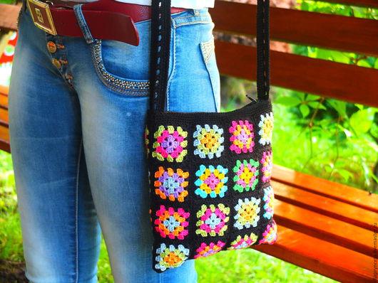 сумка вязаная, сумка летняя,сумка из мотивов, маленькая чёрная сумочка