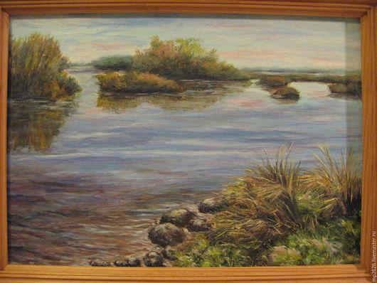 Пейзаж ручной работы. Ярмарка Мастеров - ручная работа. Купить Тихая река. Handmade. Голубой, пейзаж, падарок, масло