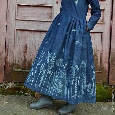Одежда ручной работы. Ярмарка Мастеров - ручная работа Платье Травы индиго. Handmade.