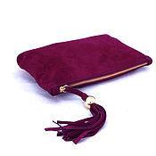 Клатчи ручной работы. Ярмарка Мастеров - ручная работа Клатч из фиолетовой замши с кистью арт. 302. Handmade.