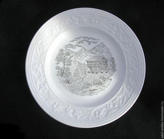"""Винтажная посуда. Ярмарка Мастеров - ручная работа. Купить Декоративная тарелка от """"Рёстранда"""". Handmade. Чёрно-белый, фарфор, винтаж"""