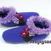 """Обувь ручной работы. Ярмарка Мастеров - ручная работа Тапочки вязаные """"Фиалки"""".. Handmade."""