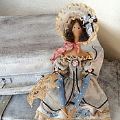 Куклы и игрушки ручной работы. Ярмарка Мастеров - ручная работа кукла тильда ручной работы Барышня в голубом). Handmade.