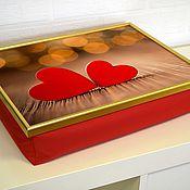 Для дома и интерьера ручной работы. Ярмарка Мастеров - ручная работа Столик-поднос на красной подушке (с вашей картинкой). Handmade.