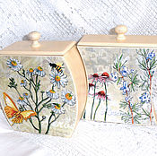 Для дома и интерьера handmade. Livemaster - original item Boxes for kitchen Chamomile and Rosemary, set. Handmade.