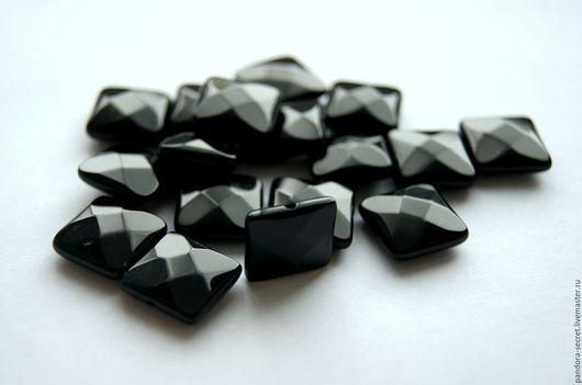 Для украшений ручной работы. Ярмарка Мастеров - ручная работа. Купить Черный агат бусина ограненный квадрат, подушечка, с огранкой оникс. Handmade.