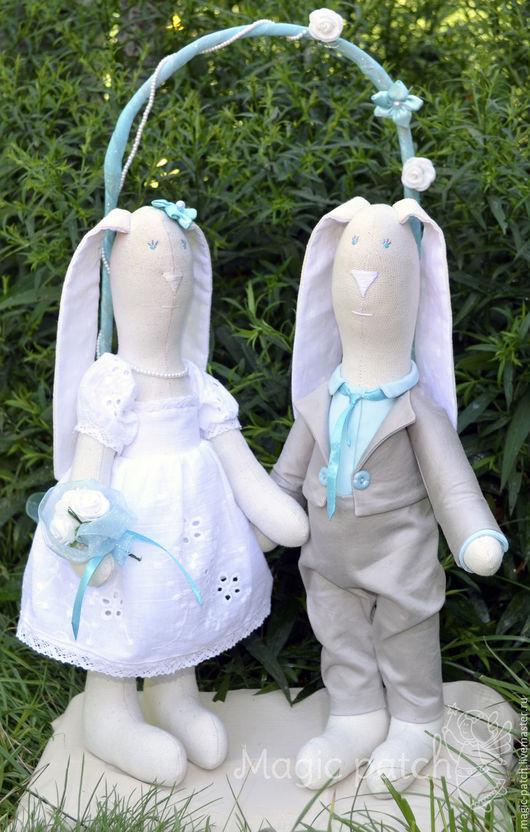 Подарки на свадьбу ручной работы. Ярмарка Мастеров - ручная работа. Купить Свадебные зайцы Бирюза. Handmade. Бирюзовый, тильда заяц