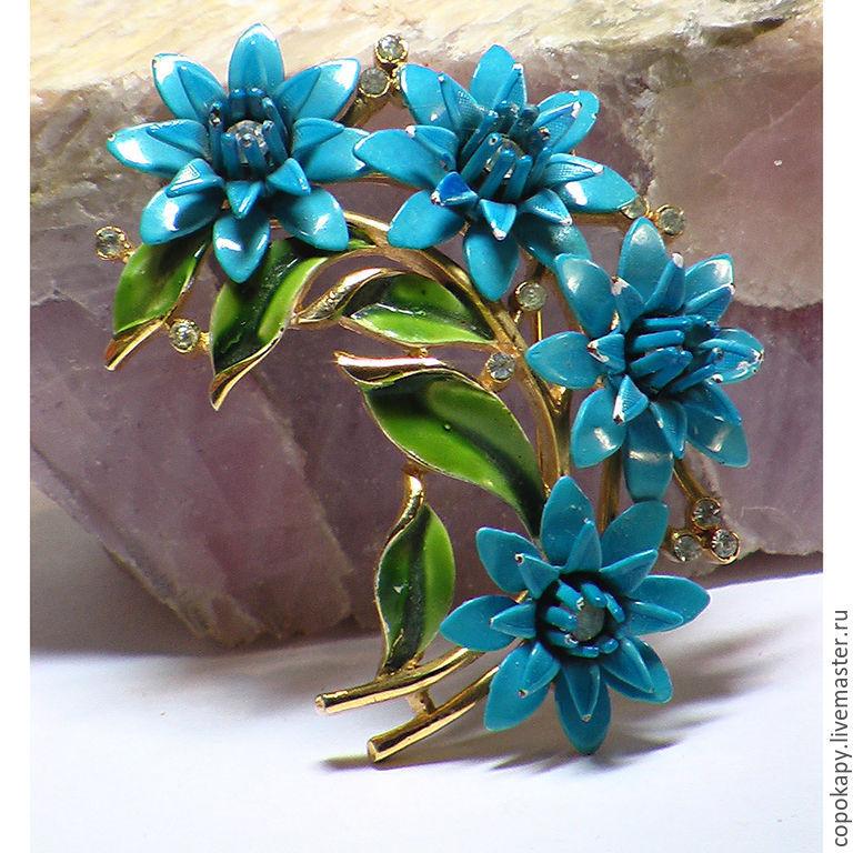 """Винтаж: Винтажная брошь """"Голубые цветы""""  TRIFARI, Винтажные броши, Егорьевск, Фото №1"""