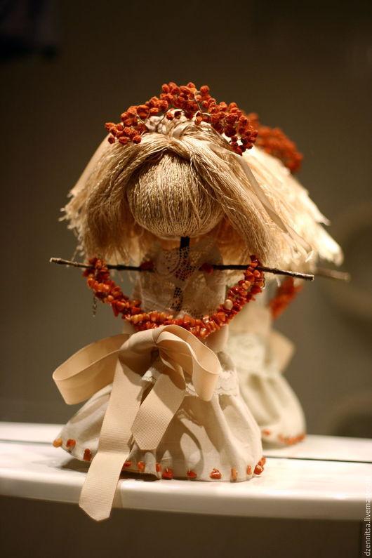Народные куклы ручной работы. Ярмарка Мастеров - ручная работа. Купить Кукла Светлая Рябинка-Огненка. Handmade. Оранжевый, хлопок