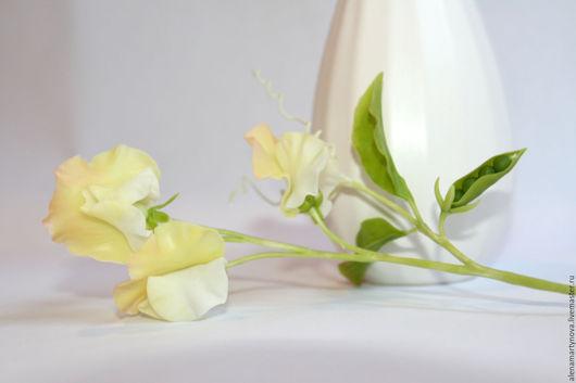 Цветы ручной работы. Ярмарка Мастеров - ручная работа. Купить Душистый горошек. Handmade. Лимонный, цветы из полимерной глины
