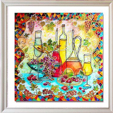 Картины и панно ручной работы. Ярмарка Мастеров - ручная работа Картины: Картина на стекле Натюрморт с виноградом. Handmade.