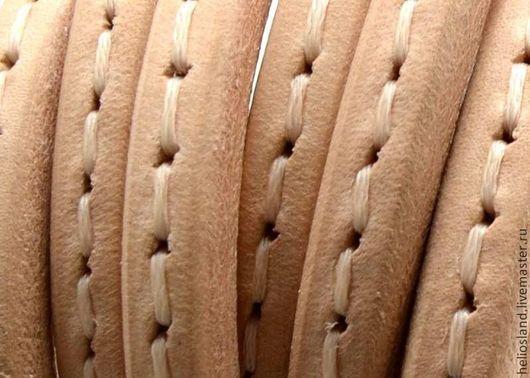 Для украшений ручной работы. Ярмарка Мастеров - ручная работа. Купить Кожаный шнур REGALIZ с прострочкой, коричневый. Handmade. Регализ