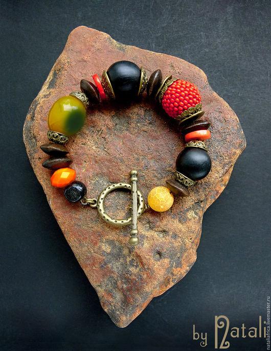 """Браслеты ручной работы. Ярмарка Мастеров - ручная работа. Купить Браслет """"Африканский сувенир"""" - агат, коралл, дерево, стекло. Handmade."""