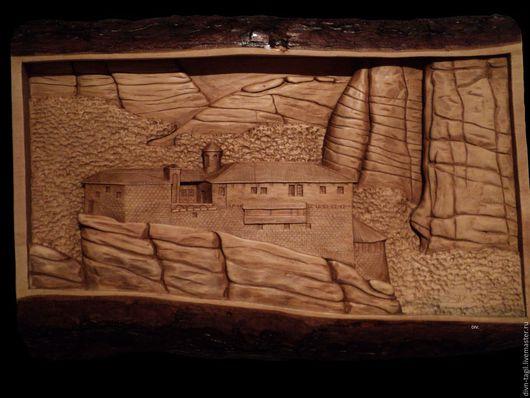 Город ручной работы. Ярмарка Мастеров - ручная работа. Купить Картина замок в горах. Handmade. Коричневый, Дерево ручной работы