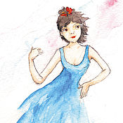 Картины и панно handmade. Livemaster - original item Dance Girl and Guitar 10h15 Watercolor and Postcard. Handmade.
