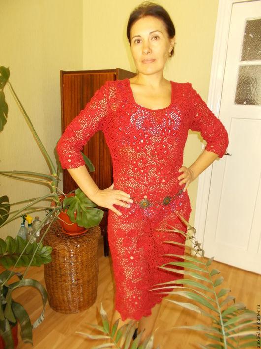 Платья ручной работы. Ярмарка Мастеров - ручная работа. Купить Ягодка. Handmade. Ярко-красный, ирландское кружево платье