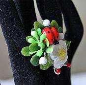 Украшения handmade. Livemaster - original item Ring lampwork flower rose, coral, agate Rose. Handmade.