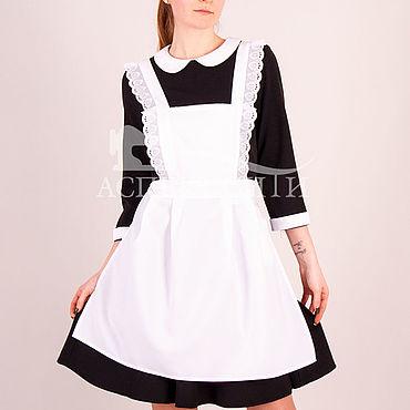 Товары для малышей ручной работы. Ярмарка Мастеров - ручная работа Комплект платье с фартуком, 14-442ч (черное платье, белый фартук). Handmade.